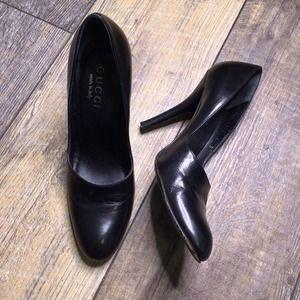 Authentic Gucci Black Leather Stiletto Pumps Size 6